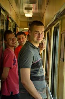 Студенты в поезде в Словакии